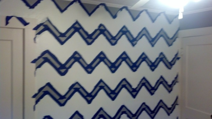 Step 4: Paint the chevron between the tape lines